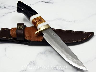 西田刃物工房 大祐作 白1号本割込多層鋼ナイフ155
